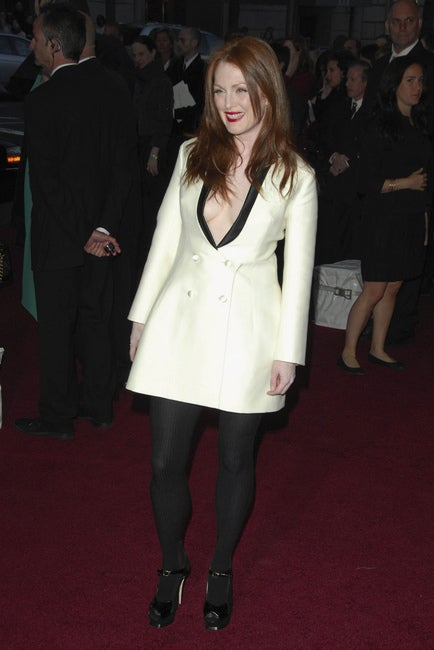 YVES SAINT LAURENT ivory wool tuxedo dress with black silk 5