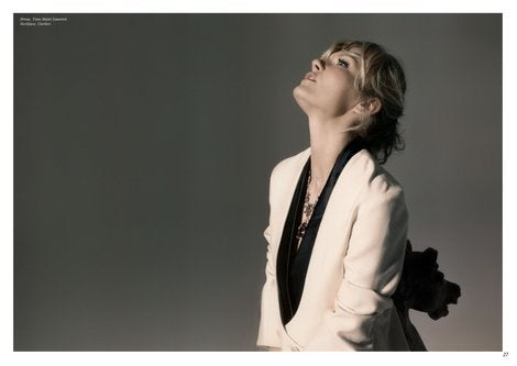 YVES SAINT LAURENT ivory wool tuxedo dress with black silk 6