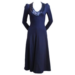 1960's BIBA wool dress with sequined trim