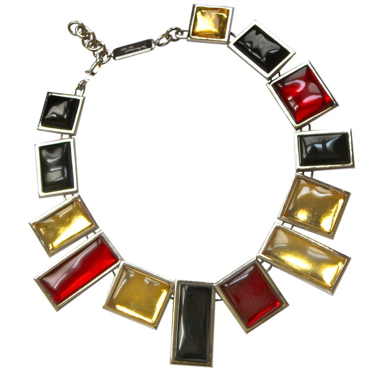 very rare YVES SAINT LAURENT silver numbered necklace with poured glass 1