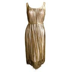 ALEXANDER MCQUEEN gold laser cut leather dress with belt - 2008