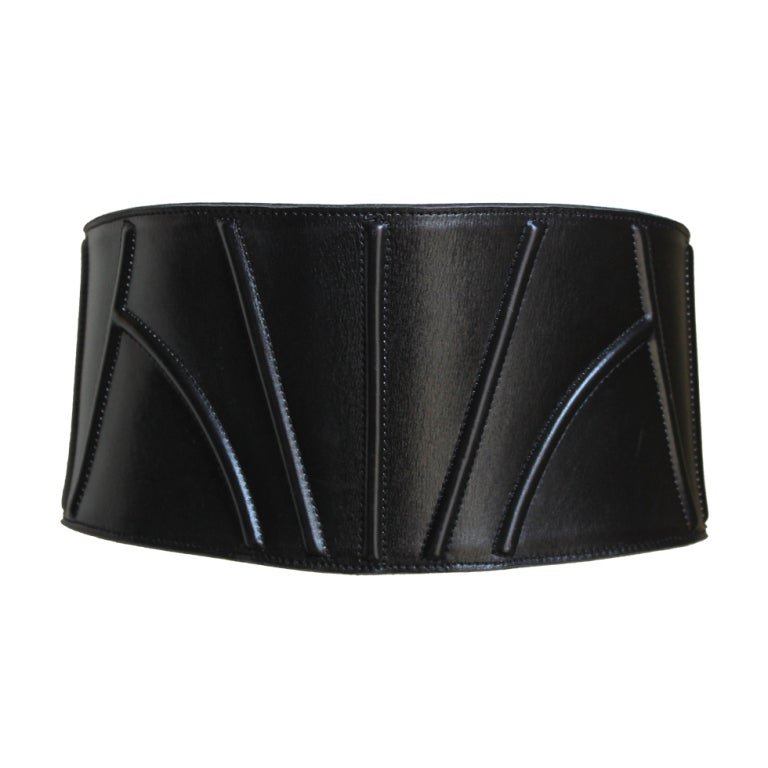 1980 s azzedine alaia wide black leather corset belt at