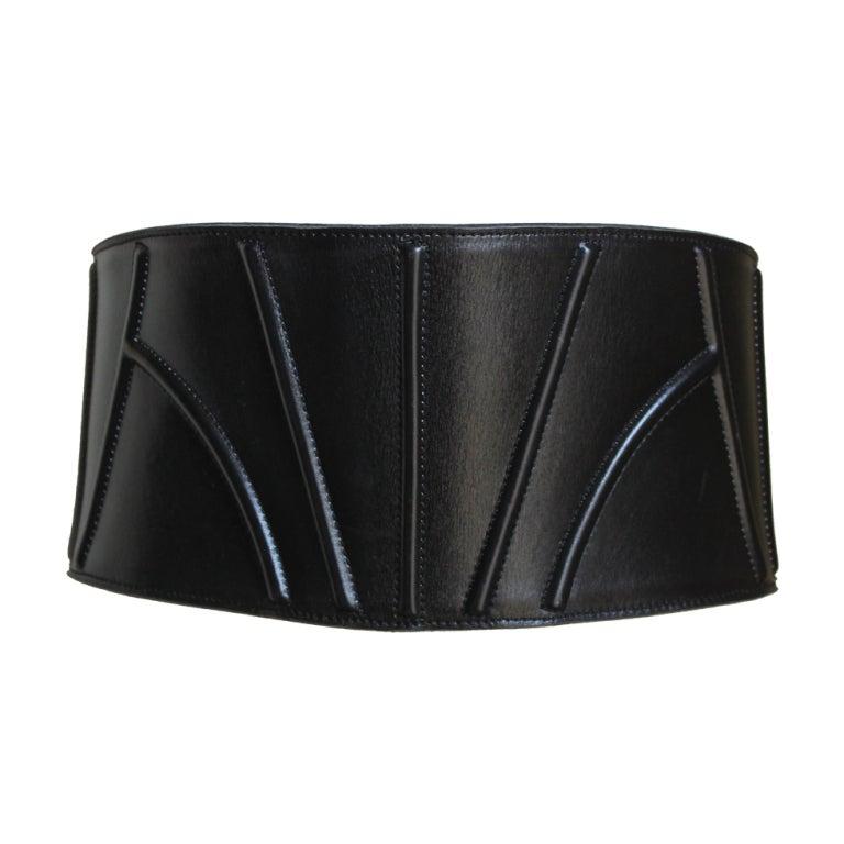 1980 s azzedine alaia wide black leather corset belt at
