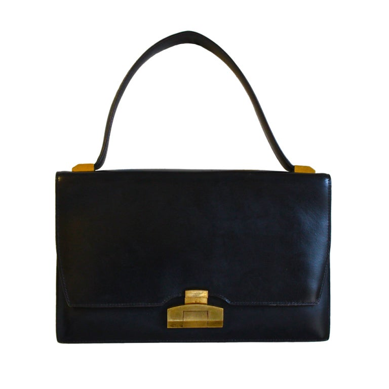 1940's HERMES black top handle bag with gilt hardware 1