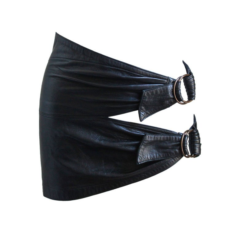 AZZEDINE ALAIA ultra mini leather skirt with buckles 1