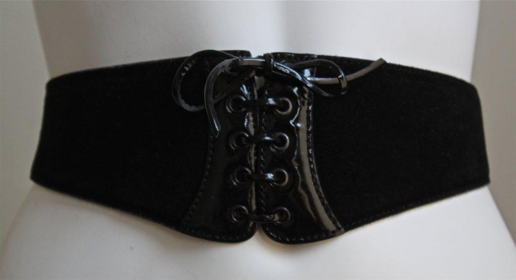 1990's AZZEDINE ALAIA black suede & patent leather corset belt 2
