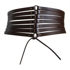 Azzedine Alaia dark brown leather corset belt, early 1990s