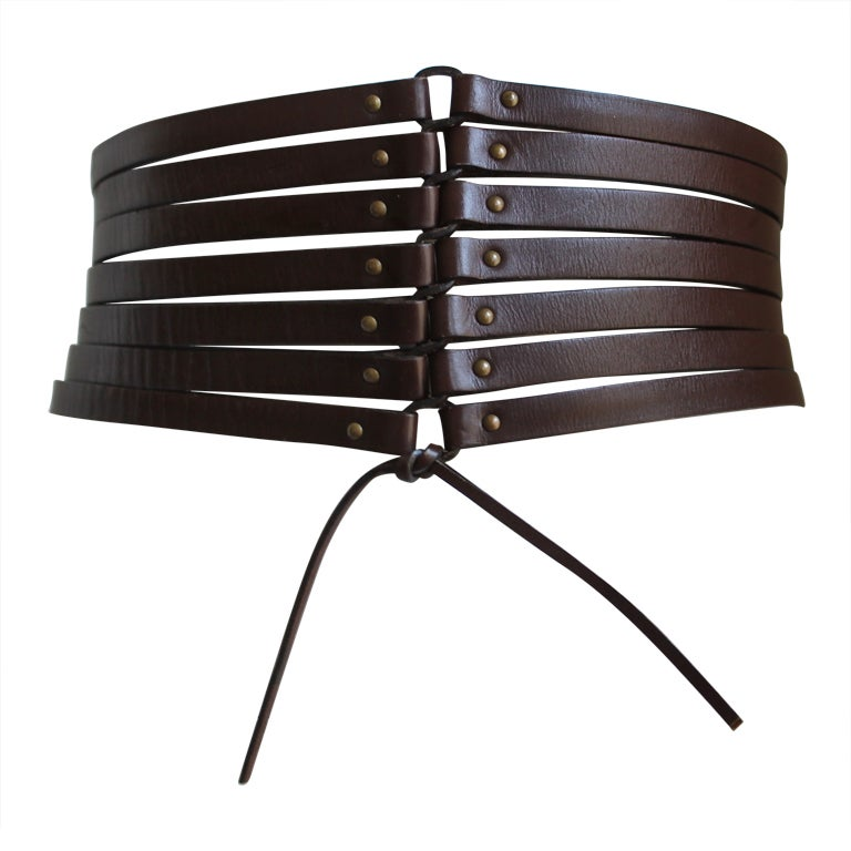 Azzedine Alaia dark brown leather corset belt, early 1990s  For Sale