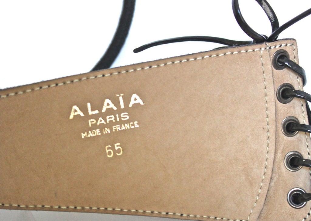 1990's AZZEDINE ALAIA black suede & patent leather corset belt 4
