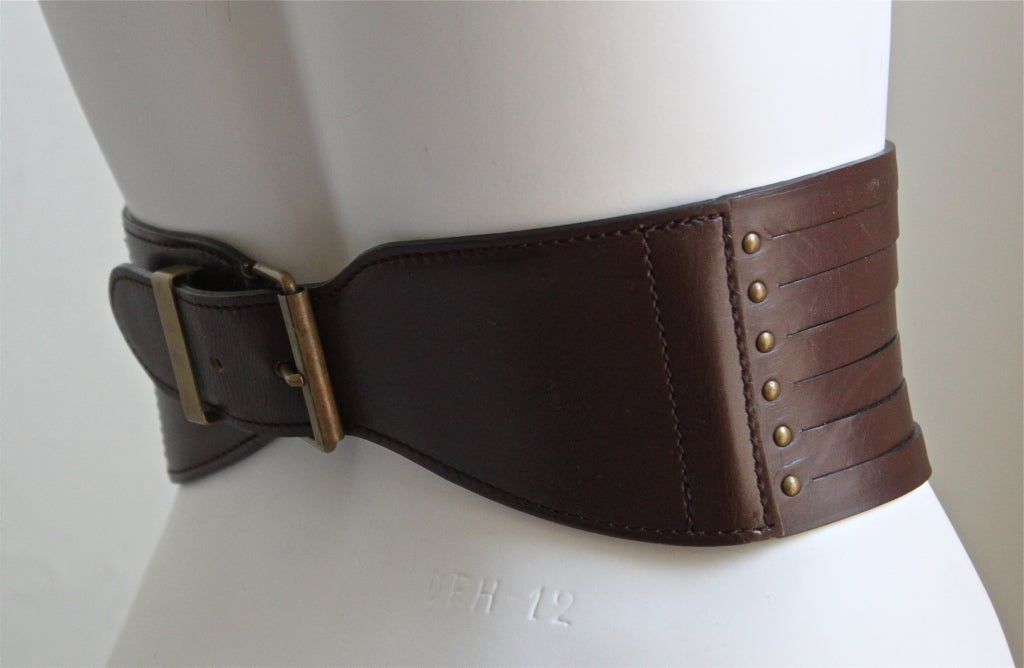 early 1990's AZZEDINE ALAIA dark brown leather corset belt 2