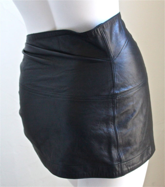 AZZEDINE ALAIA ultra mini leather skirt with buckles 2
