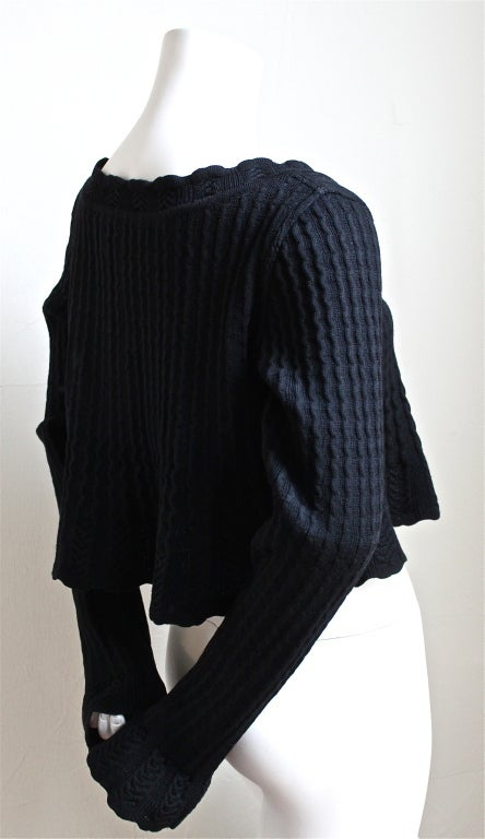 1990's AZZEDINE ALAIA black cropped sweater 2