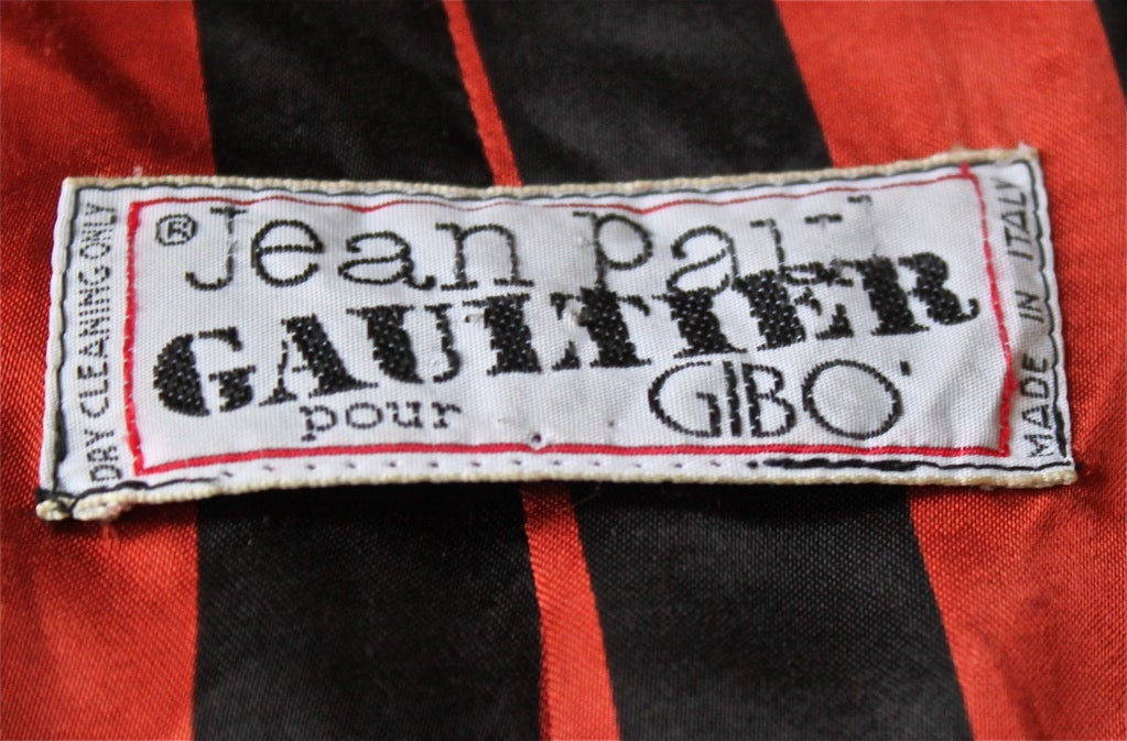 JEAN PAUL GAULTIER for GIBO black jacket with red stripe 1984 3