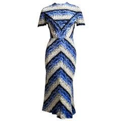 1940's GILBERT ADRIAN chevron print dress with back flounce