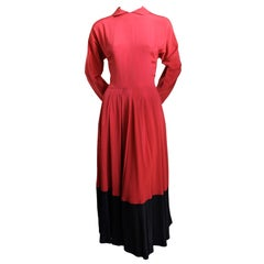 *SALE* 1950's CLAIRE MCCARDELL red and black rayon dress