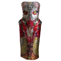 2008 ALEXANDER MCQUEEN elaborately pieced brocade dress