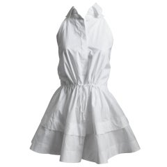 AZZEDINE ALAIA white poplin mini dress