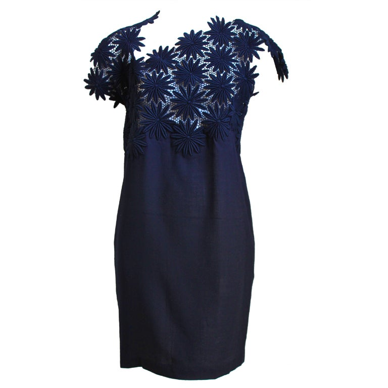 1990 COMME DES GARCONS navy blue embroidered lace dress For Sale