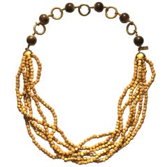 1970's YVES SAINT LAURENT wood beaded necklace