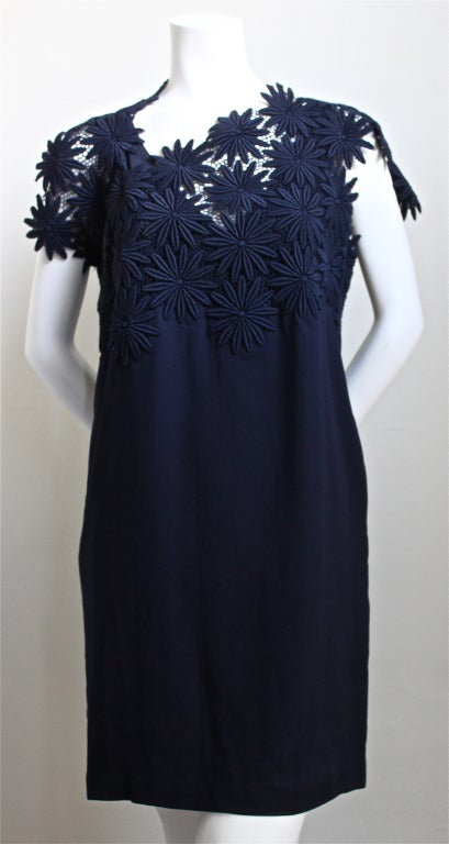 Women's 1990 COMME DES GARCONS navy blue embroidered lace dress For Sale
