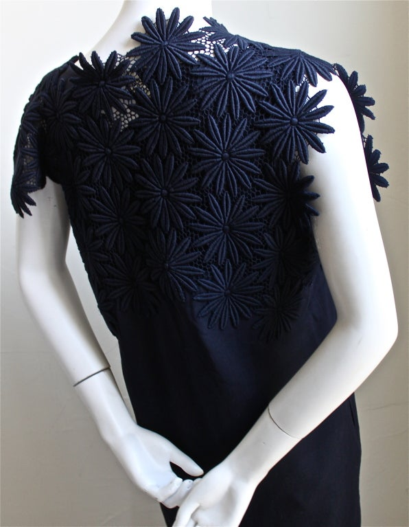 1990 COMME DES GARCONS navy blue embroidered lace dress For Sale 3