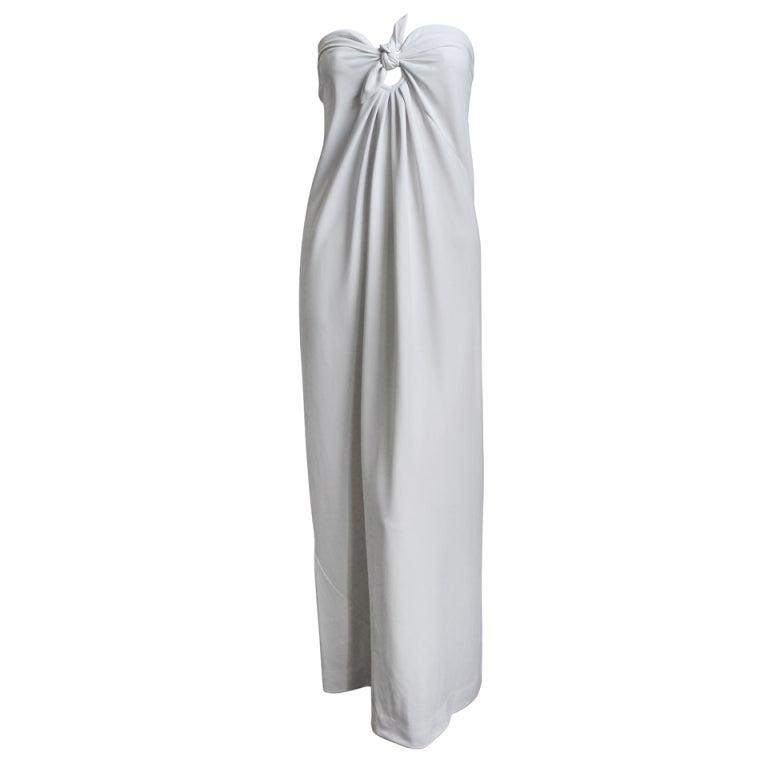 1976  HALSTON off-white strapless spiral cut jersey dress 1