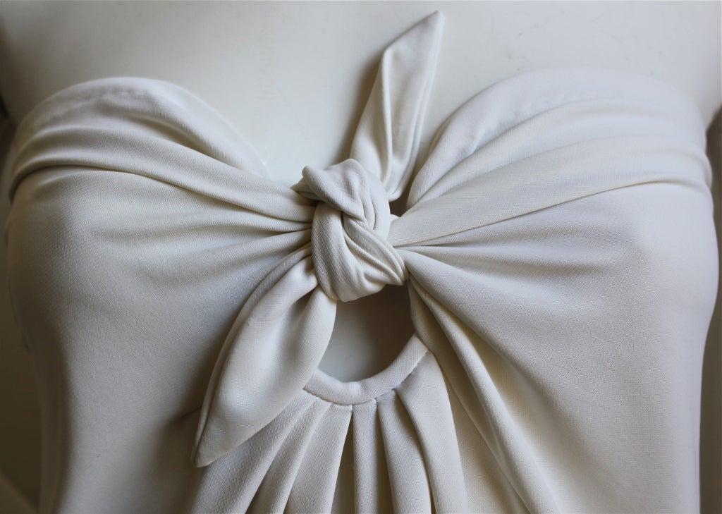 1976  HALSTON off-white strapless spiral cut jersey dress 2