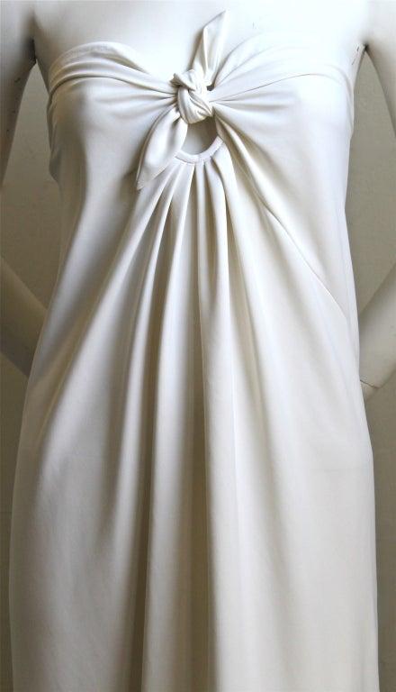1976  HALSTON off-white strapless spiral cut jersey dress 3