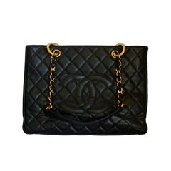 CHANEL GST caviar leather tote bag with gold hardware