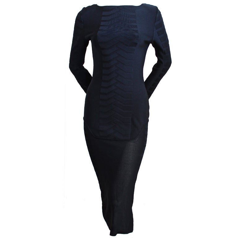 THIERRY MUGLER black knit dress with sheer hemline For Sale