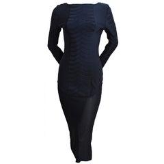THIERRY MUGLER black knit dress with sheer hemline