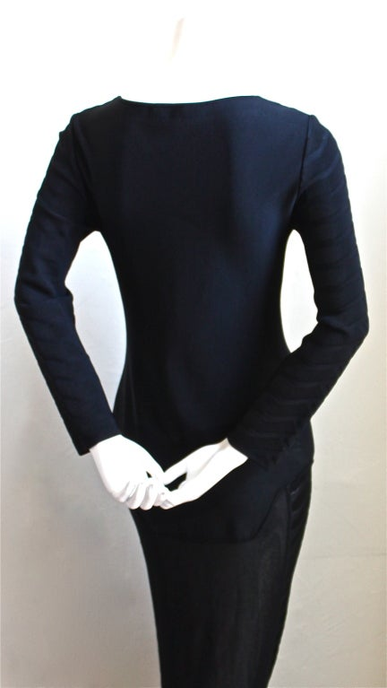 Black THIERRY MUGLER black knit dress with sheer hemline For Sale