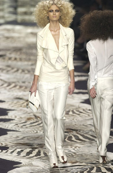 TOM FORD for YVES SAINT LAURENT cream leather jacket 2004 4