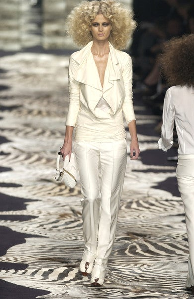 TOM FORD for YVES SAINT LAURENT cream leather jacket 2004 5