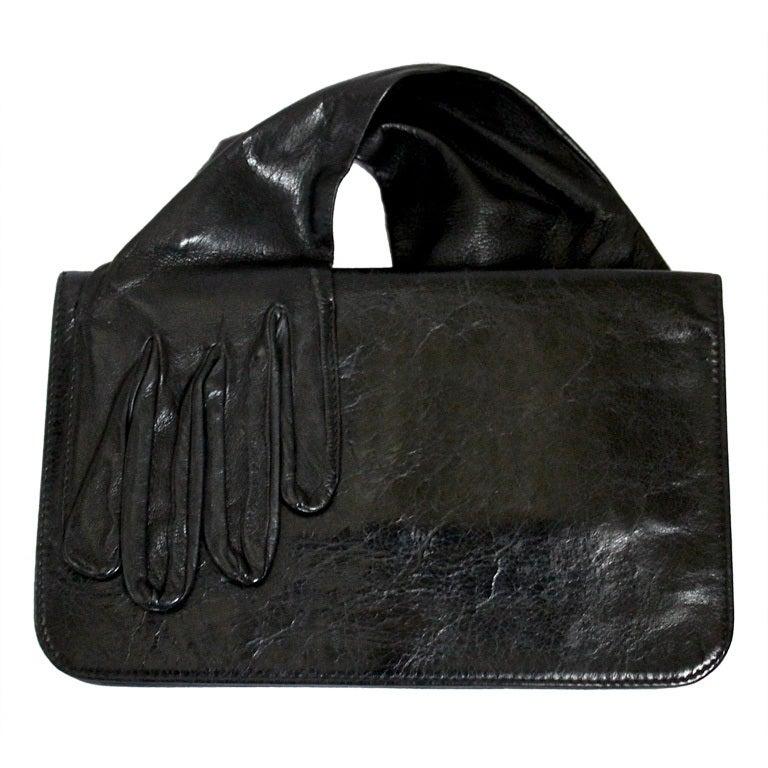 MARTIN MARGIELA black leather glove clutch - 2007 1