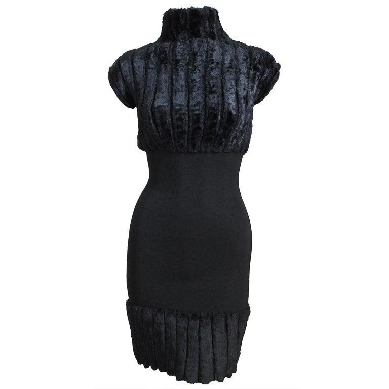 AZZEDINE ALAIA black ribbed chenille mini dress - 1991 For Sale
