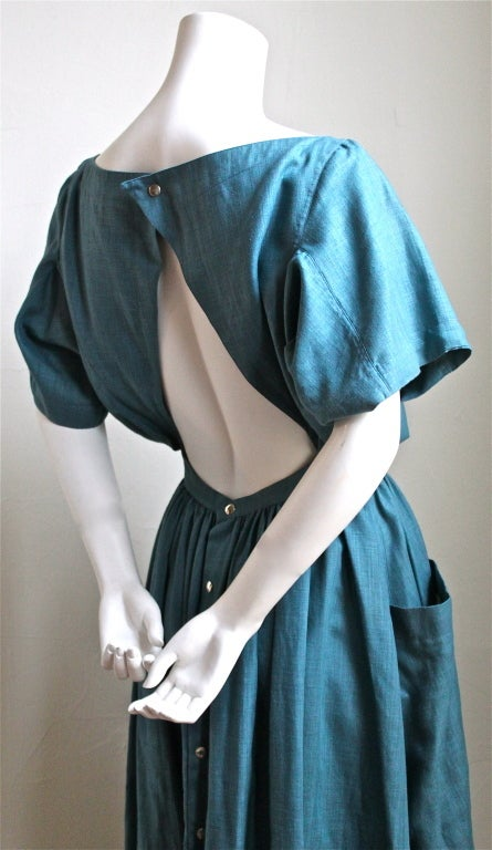 1980 S Azzedine Alaia Turquoise Linen Dress With Cut Out