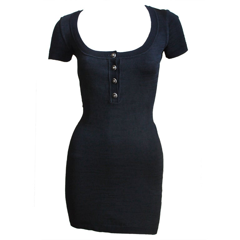 AZZEDINE ALAIA black textured knit minidress with star buttons 1