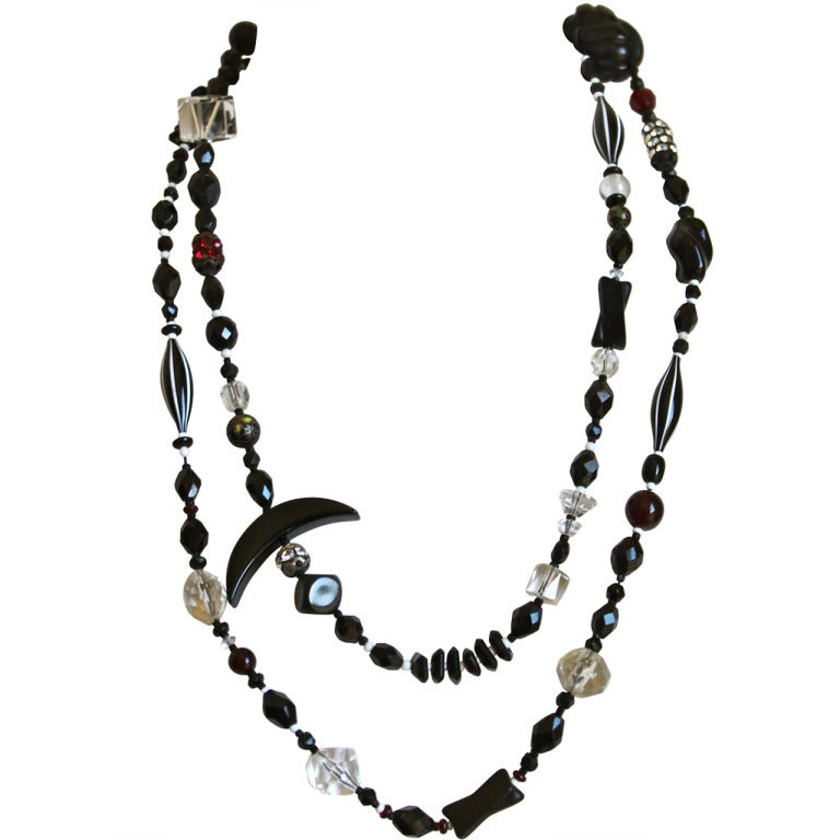 1920's Czech Crystal & Black Glass Art Deco Sautoir Necklace