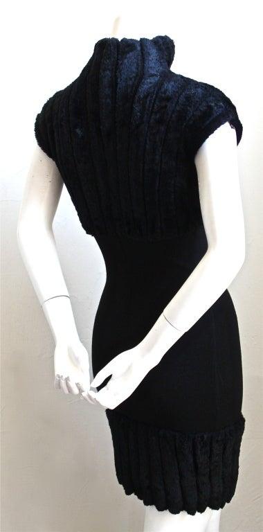 Black AZZEDINE ALAIA black ribbed chenille mini dress - 1991 For Sale