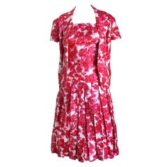 1950's LUCILE MANGUIN haute couture silk apron dress and jacket