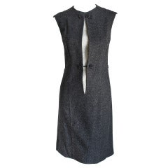 1960's SORELLE FONTANA charcoal wool dress with lace insert