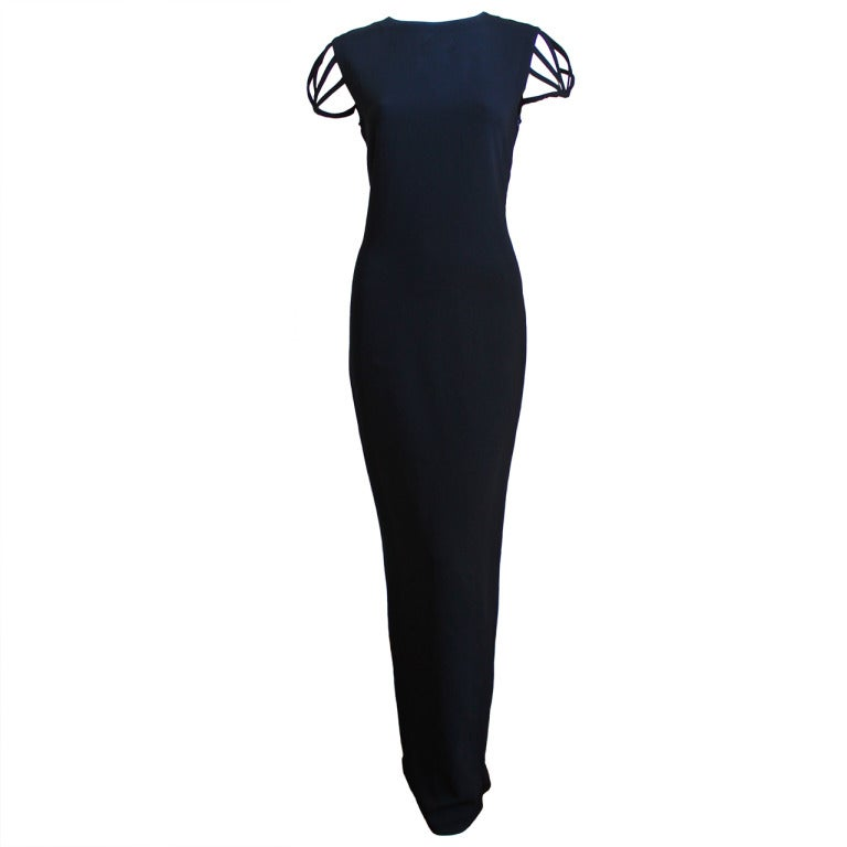 JEAN PAUL GAULTIER jet black caged cut out gown with woven back 1