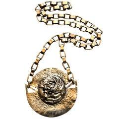 very rare 1950's LINE VAUTRIN dragon medallion necklace