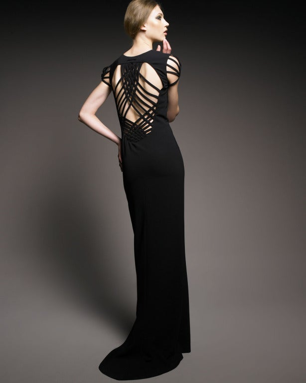 JEAN PAUL GAULTIER jet black caged cut out gown with woven back 4