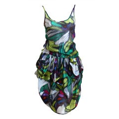 1980's MISSONI abstract printed top and skirt set