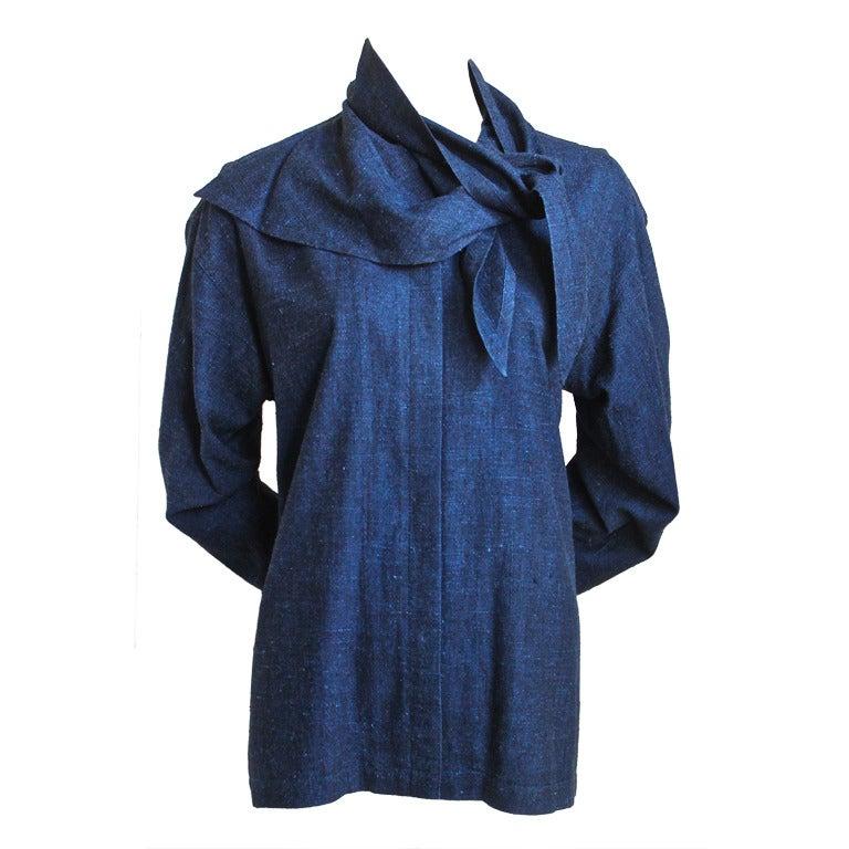 1980 S Issey Miyake Indigo Raw Silk Shirt With Draped
