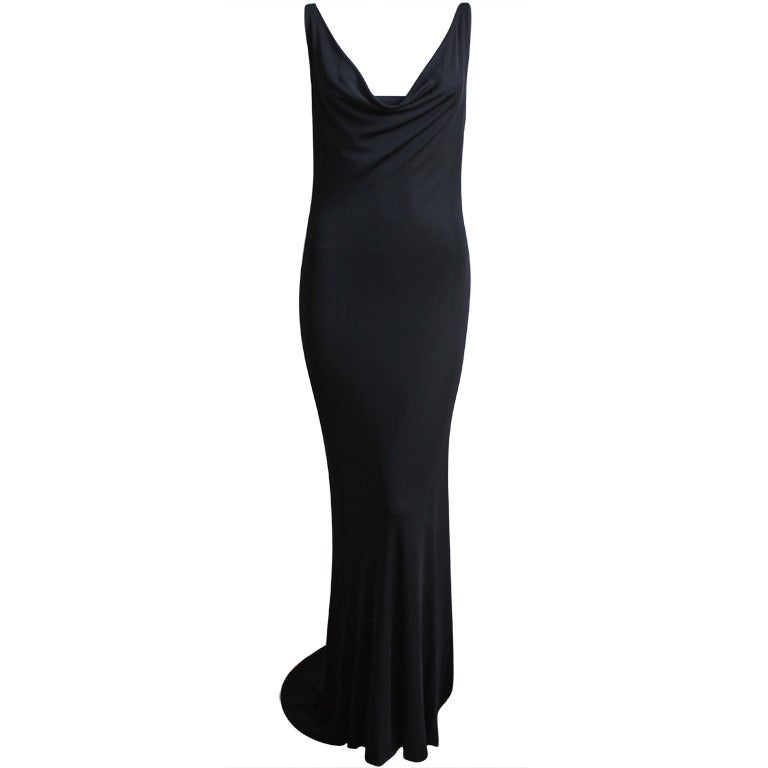 ALEXANDER MCQUEEN black draped bias cut dress with chain detail For Sale