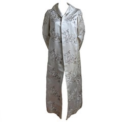 MAGGY ROUFF haute couture satin evening coat with metallic embroidery