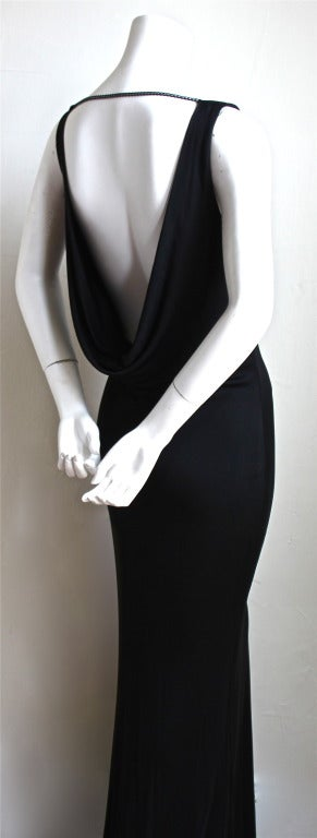 Black ALEXANDER MCQUEEN black draped bias cut dress with chain detail For Sale